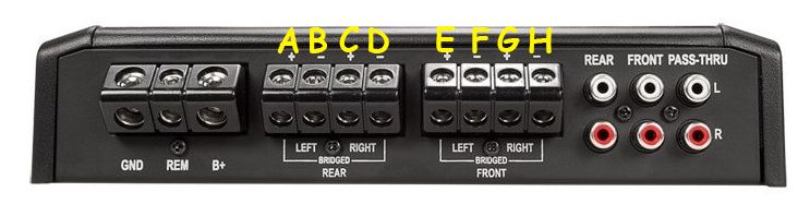 How you can bridge a 4 channel amplifier.
